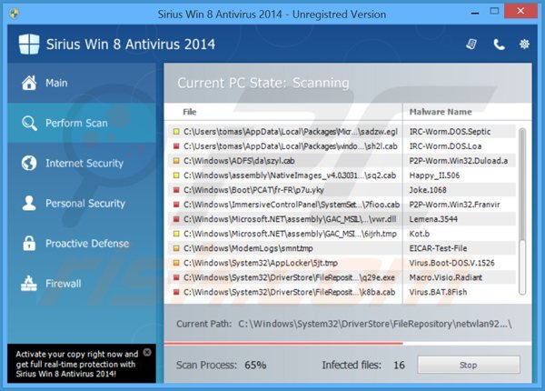 sirius win 8 antivirus 2014 performing a fake computer security scan