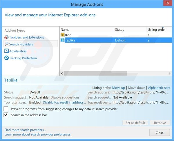 Removing taplika.com from Internet Explorer default search engine