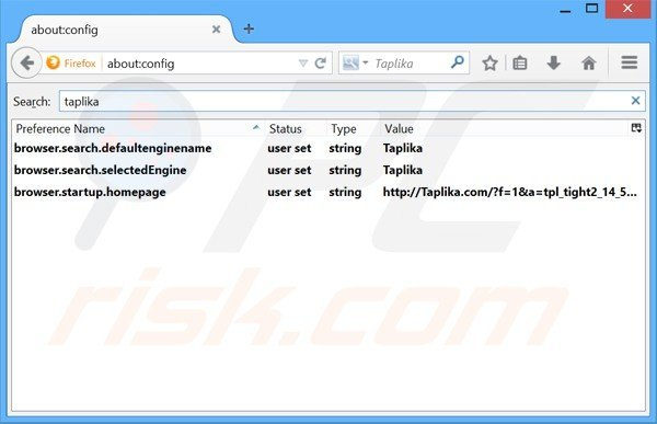 Removing taplika.com from Mozilla Firefox default search engine