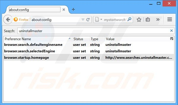 Removing Uninstall Master from Mozilla Firefox default search engine