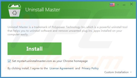 Deceptive installation setup used in Uninstall Master distribution