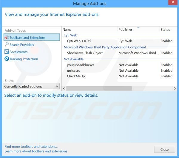 Removing Browser Extension ads from Internet Explorer step 2
