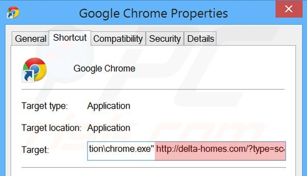 Removing delta-homes.com from Google Chrome shortcut target step 2