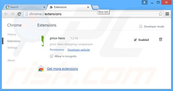 Removing Price-Hipo ads from Google Chrome step 2