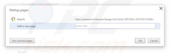 Removing websearch.thesearchpage.info from Google Chrome homepage