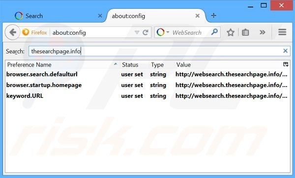 Removing websearch.thesearchpage.info from Mozilla Firefox default search engine