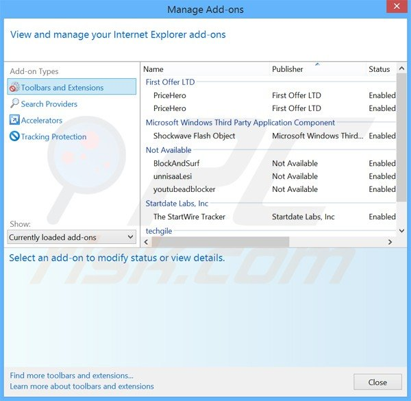 Removing zoompic ads from Internet Explorer step 2