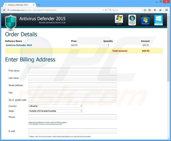 antivirus defender 2015 rogue payment page