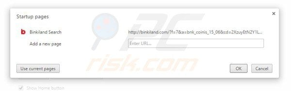 Removing binkiland.com from Google Chrome homepage