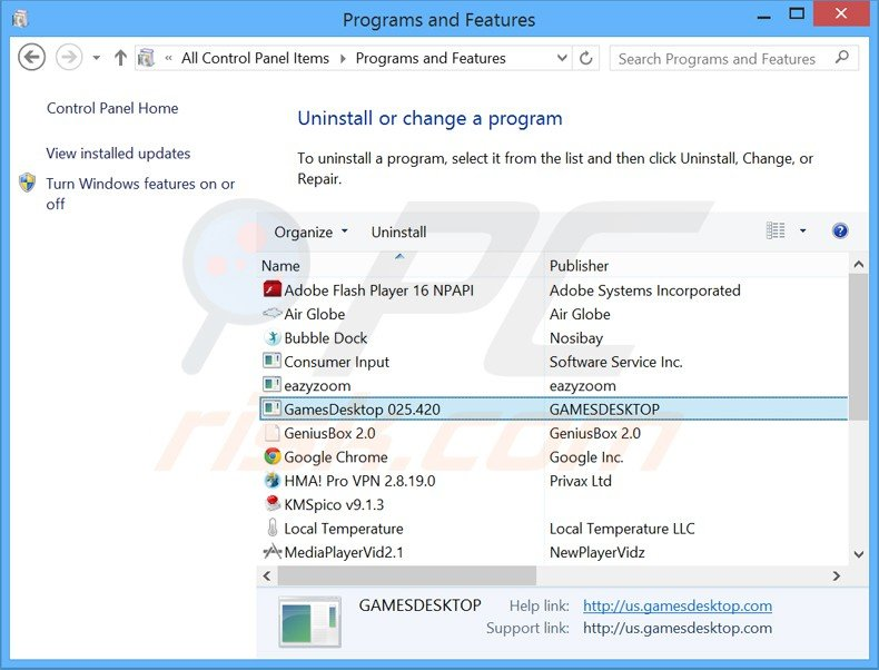 games desktop adware uninstall via Control Panel