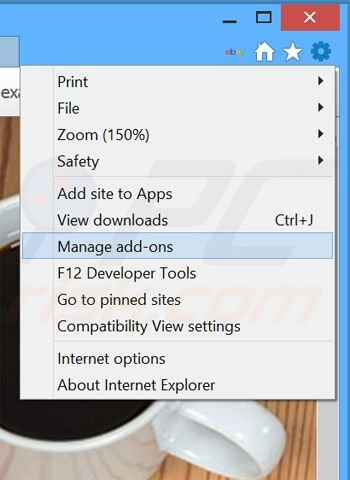 Removing IntelliTerm ads from Internet Explorer step 1