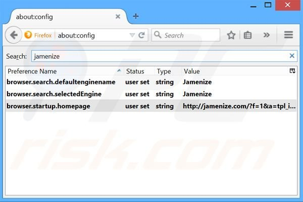 Removing jamenize.com from Mozilla Firefox default search engine