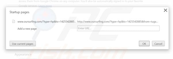 Removing oursurfing.com from Google Chrome homepage