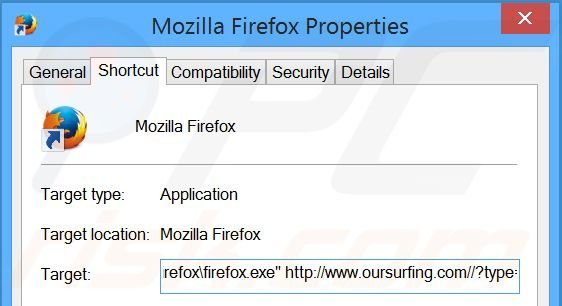 Removing oursurfing.com from Mozilla Firefox shortcut target step 2