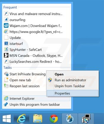 Removing oursurfing.com from Internet Explorer shortcut target step 1