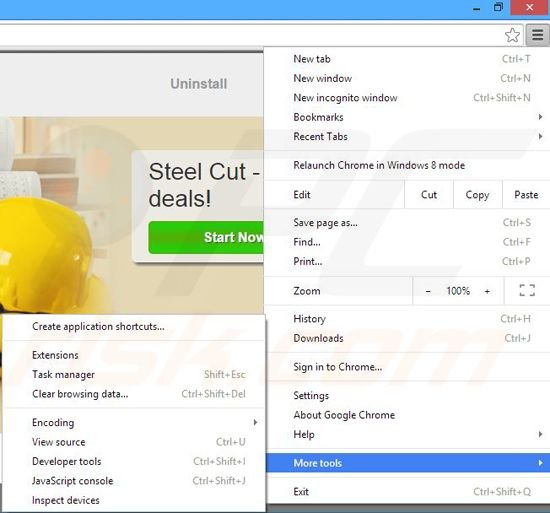 Removing Steel Cut ads from Google Chrome step 1