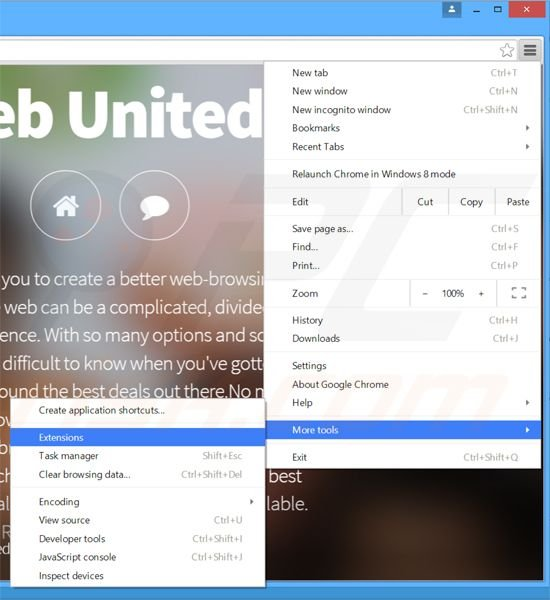 Removing Web United  ads from Google Chrome step 1