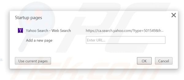 Removing search.yahoo.com from Google Chrome homepage
