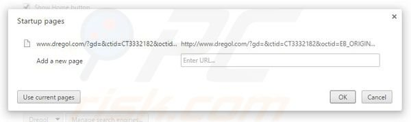 Removing dregol.com from Google Chrome homepage