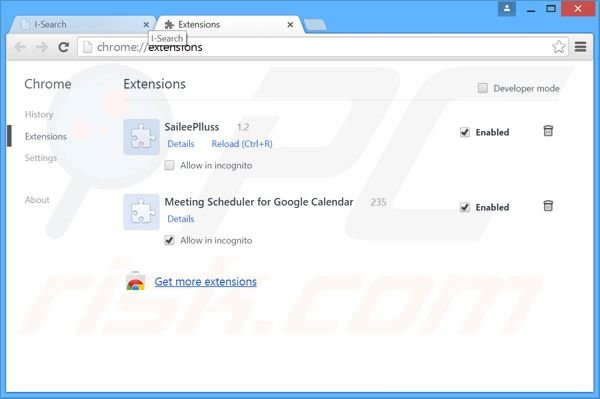 Removing i-search.us.com related Google Chrome extensions