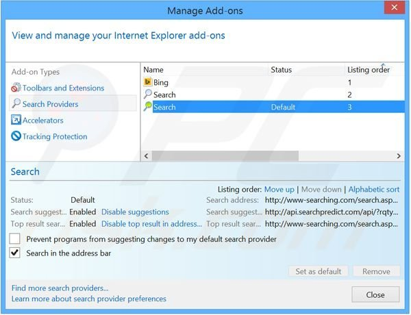 Removing i-search.us.com from Internet Explorer default search engine