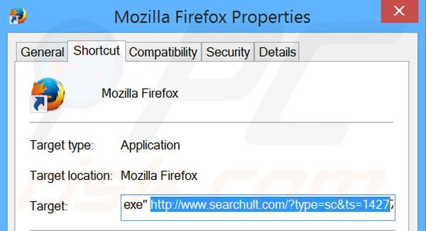 Removing searchult.com from Mozilla Firefox shortcut target step 2