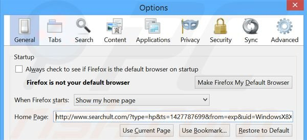 Removing searchult.com from Mozilla Firefox homepage