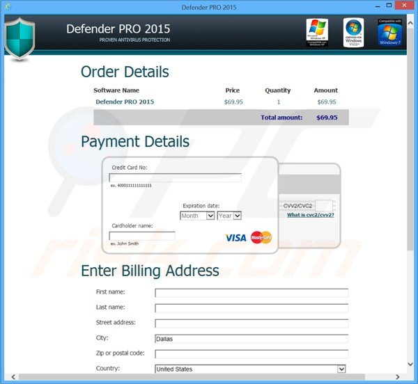 Defender pro 2015 scam payment page