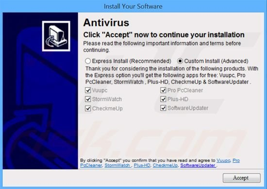 Software Updater adware installer