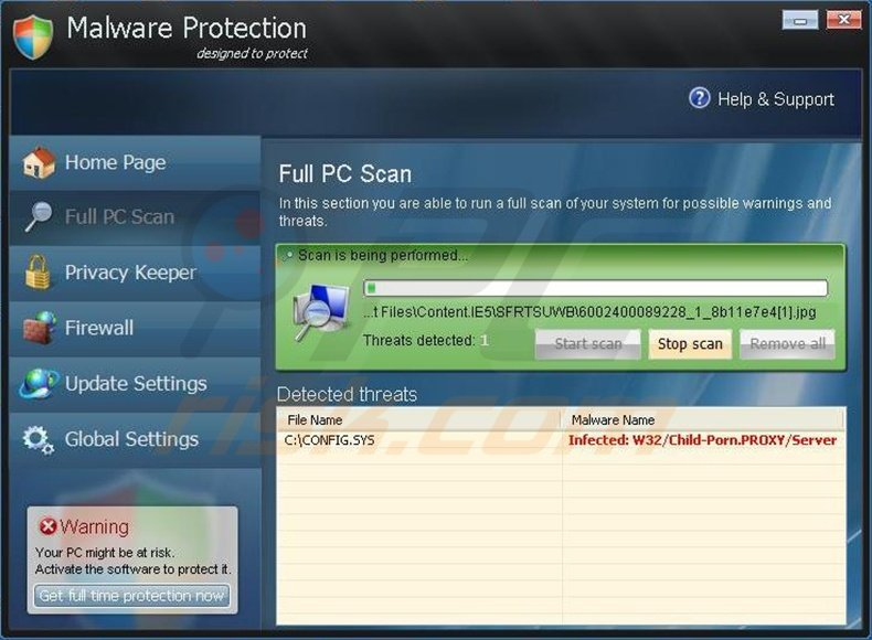 Malware Protection fake antivirus program