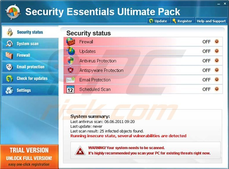 Security Essentials Ultimate Pack fake antivirus program