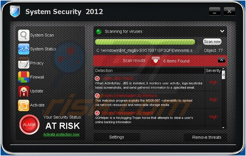 System Security 2012 fake antivirus program