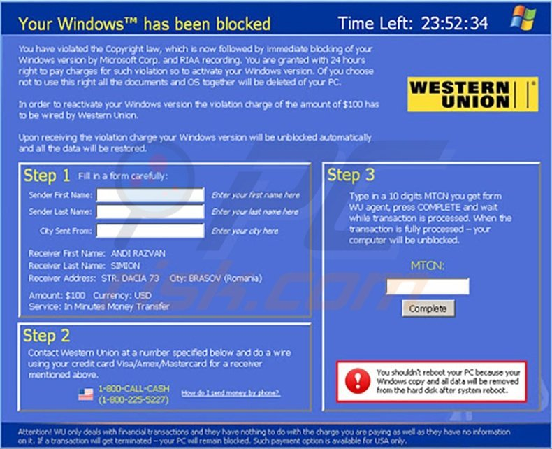 Your Windows has been blocked rogue program