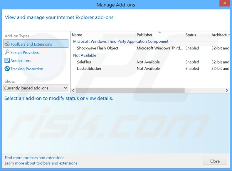 Removing Amigo ads from Internet Explorer step 2
