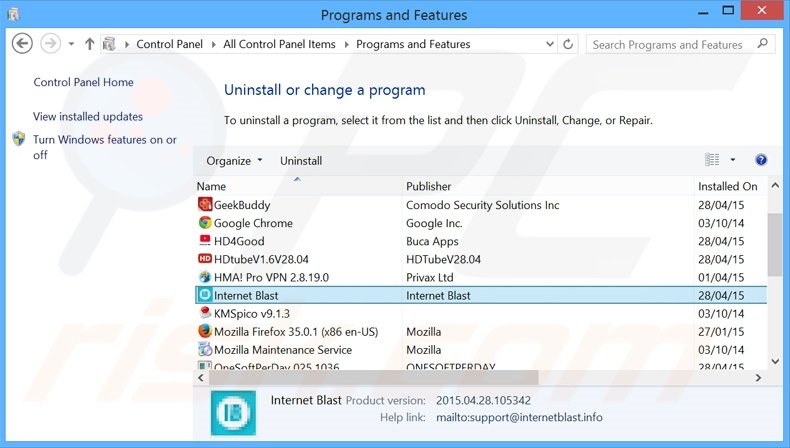 Internet Blast adware uninstall via Control Panel