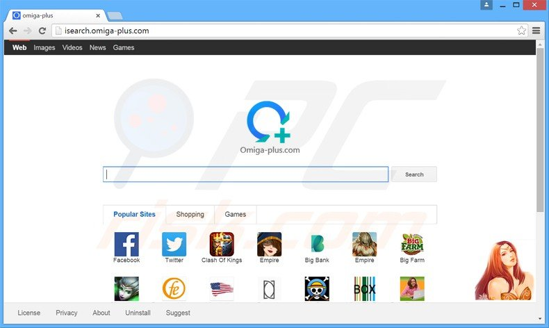 isearch.omiga-plus.com browser hijacker