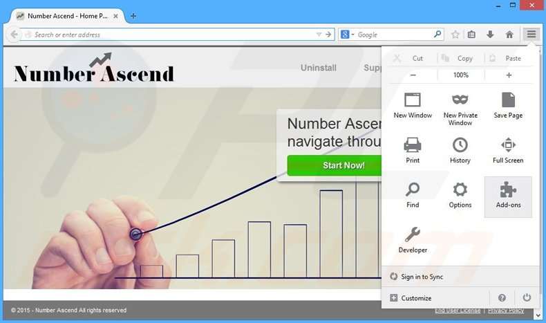 Removing Number Ascend ads from Mozilla Firefox step 1