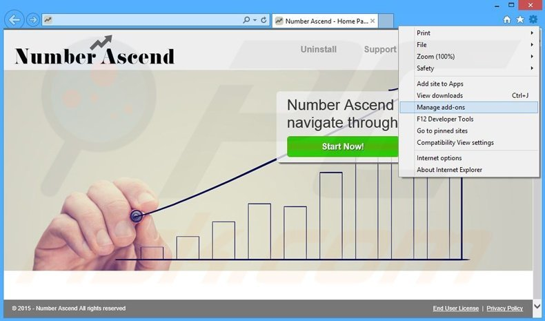 Removing Number Ascend ads from Internet Explorer step 1