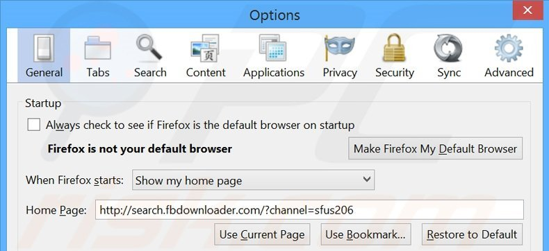 Removing search.fbdownloader.com from Mozilla Firefox homepage