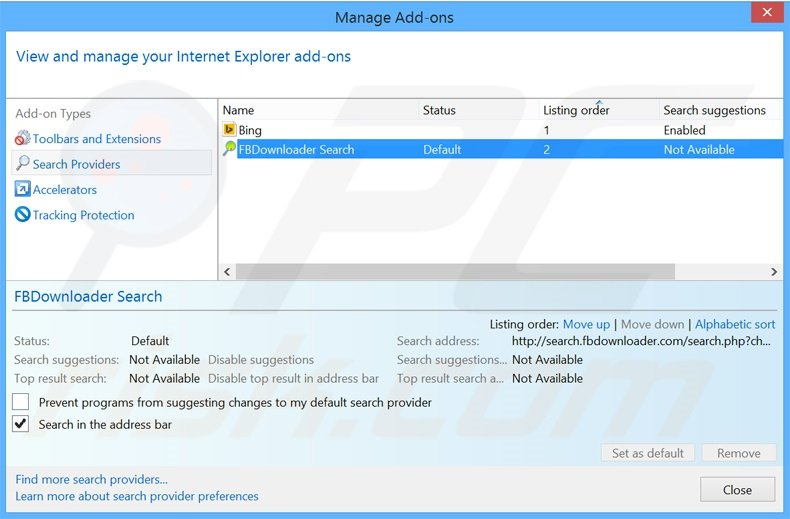 Removing search.fbdownloader.com from Internet Explorer default search engine