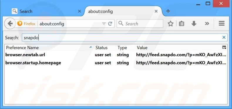 Removing search.snapdo.com from Mozilla Firefox default search engine