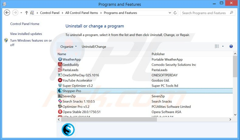 shopper pro adware uninstall via Control Panel