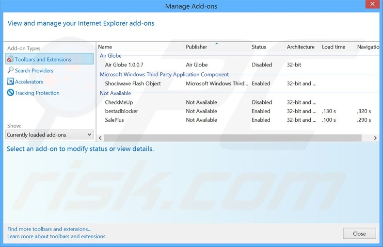 Removing thesmartsearch.net related Internet Explorer extensions