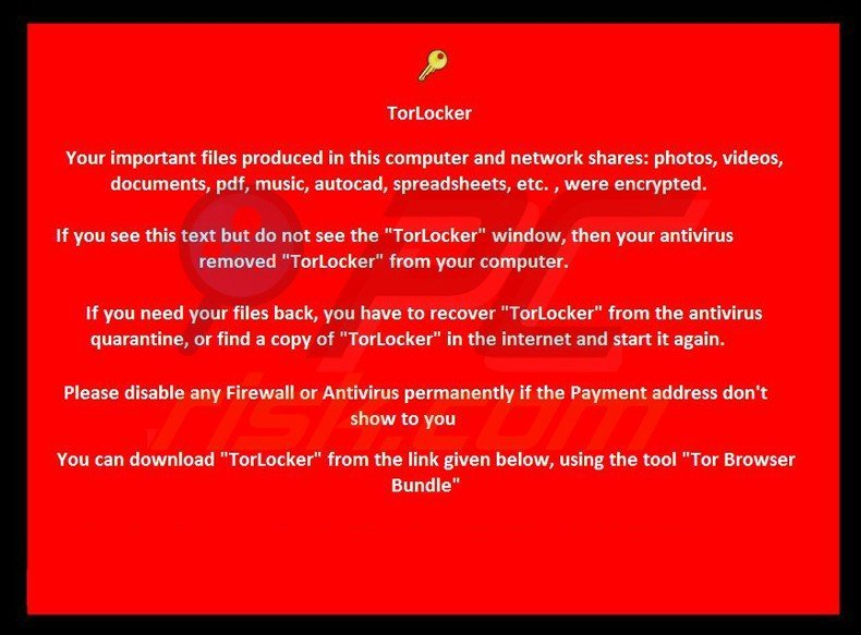 torlocker ransomware wallpaper