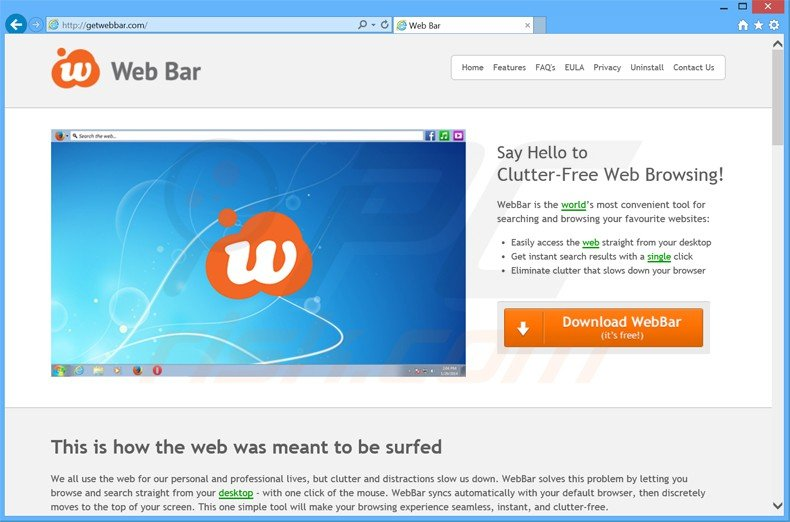How to uninstall Web Bar Adware - virus removal instructions