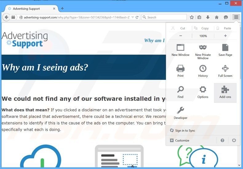 Removing ZoomApp ads from Mozilla Firefox step 1