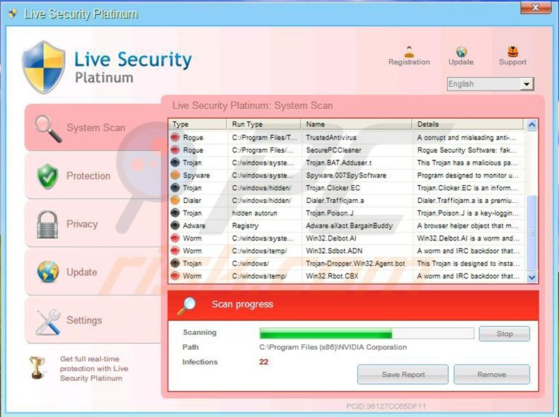 Live Security Platinum fake antivirus program