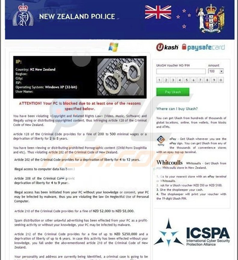 How to remove New Zealand Police Virus - virus removal steps