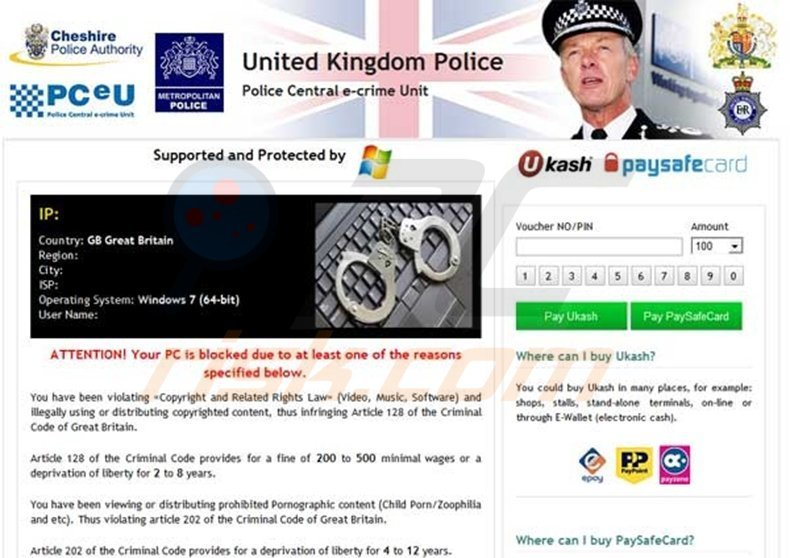 United Kingdom Police - Your PC is blocked scam