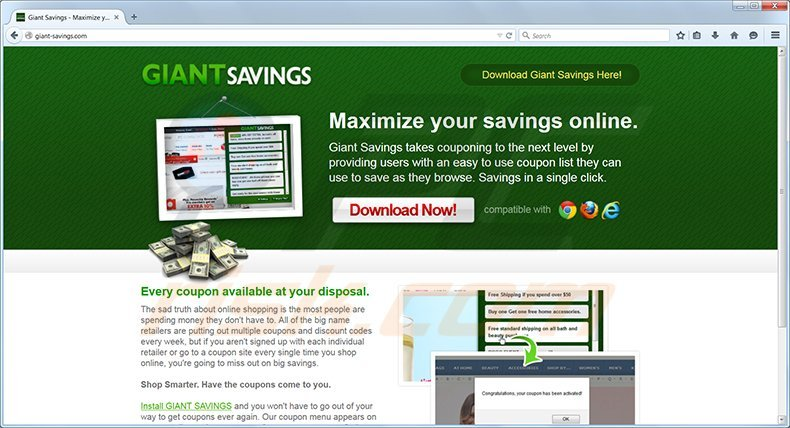 Giant Savings adware